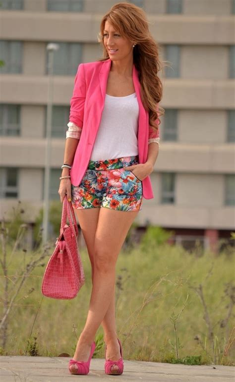 Pink Blazer Outfit with Shorts