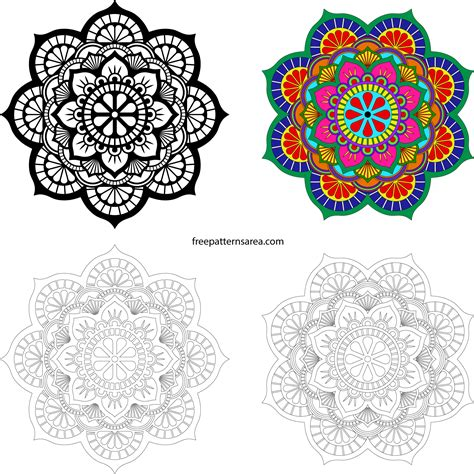This free svg cut file comes in a single zip file with the following file formats: Lotus Mandala Vector Art Pattern Files   FreePatternsArea