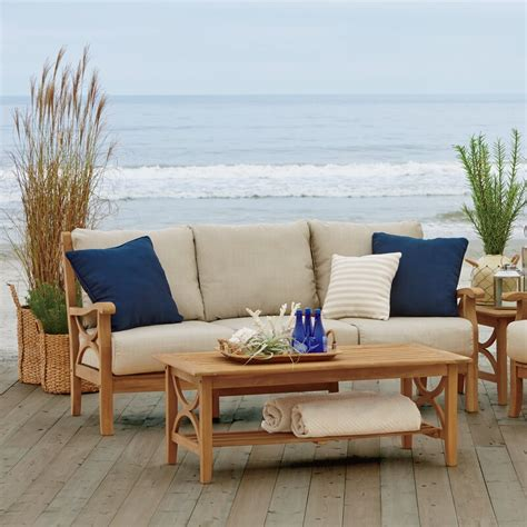 birch lane brunswick teak sofa  cushions reviews