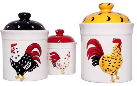 rooster canisters kitchen products home essentials ceramic rooster canister set