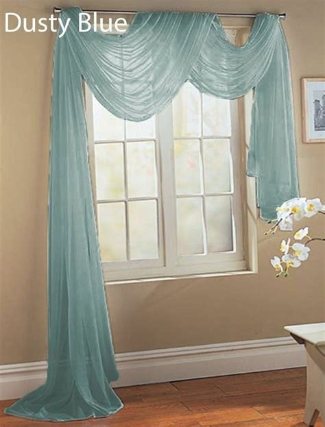 Scarf Drapes - slate blue 1 pcs soft sheer voile window panel solid