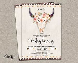 boho wedding invitation printable bohemian style With free printable skull wedding invitations