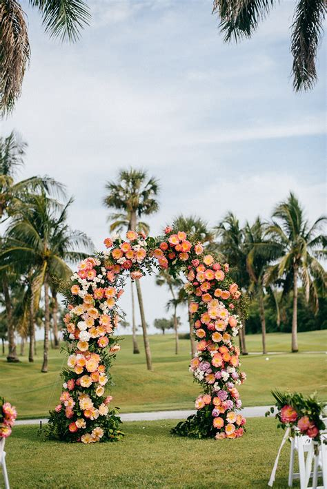 Tropical Wedding Ceremony Decor Pink and Coral Lush