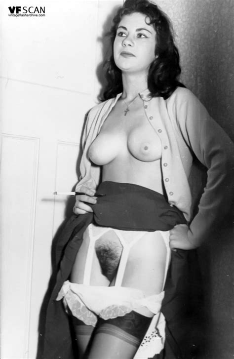 vintage flash archive horny 1960s stocking clad bushy pussy brunette vintage flash archive