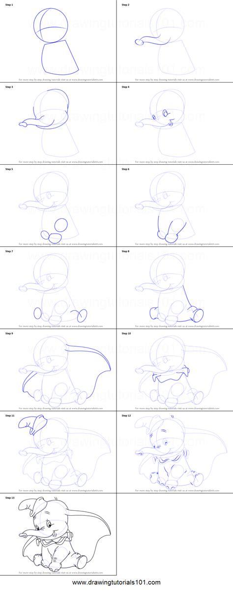draw dumbo elephant  dumbo printable step