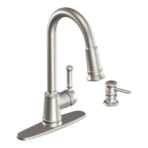 single kitchen faucet with sprayer moen lindley single handle pull sprayer kitchen