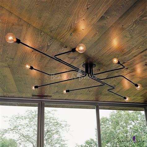 industrial edison bulb wrought iron 8 light large semi