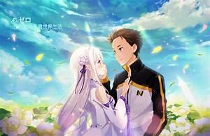 Wallpaper Re  Zero  Subaru X Emilia  Couple  Romance  Scenic  Flowers