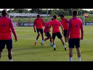 FC Barcelona's evening training session at St. Georges ...