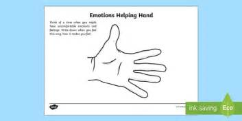 Emotions Helping Hand Worksheet / Activity Sheet