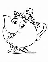 Mrs Potts Coloring Pages Disney Characters Cartoon Beast Beauty Disneyclips Chip Printable Cogsworth Lumiere Deck Duster Pdf Cards Fifi Feather sketch template