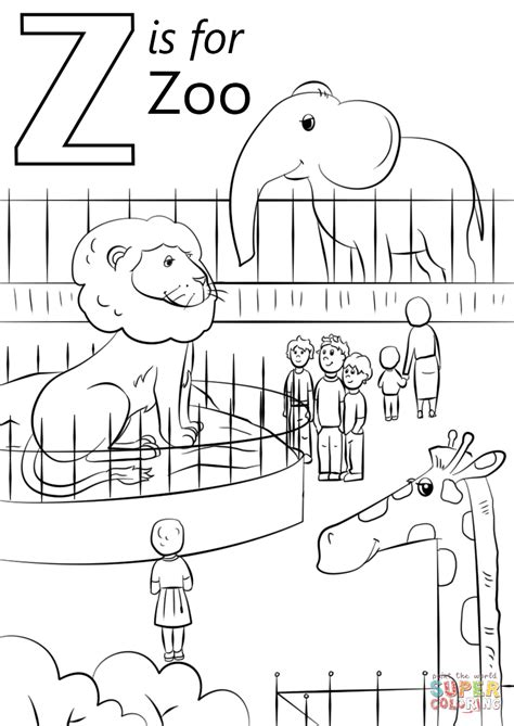 coloring z letter z is for zoo coloring page free printable