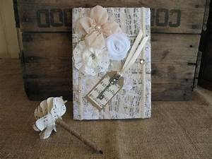 Shabby Chic Accessoires : livre d 39 or mariage livre d 39 or et un stylo shabby chic wedding guest book rustique country ~ Markanthonyermac.com Haus und Dekorationen