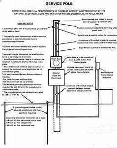 Manufactured Mobile Home Overhead Electrical Service Pole