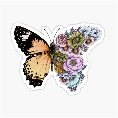 butterfly flutter soft peach sticker   aesthetic stickers homemade stickers cute