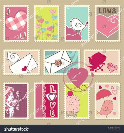 set valentines day postage stamps stock vector
