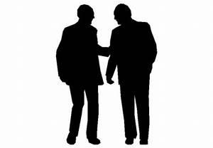 The 2d silhouette, two men talking