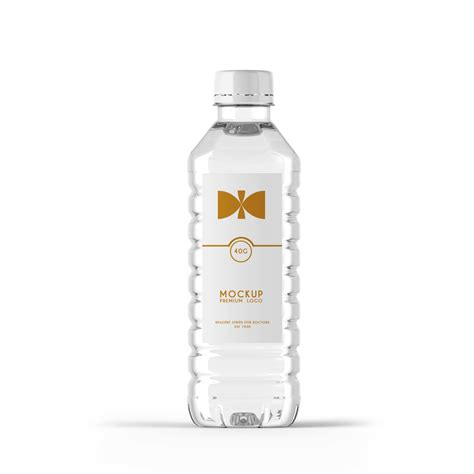 Mini pills bottle mockup to showcase your packaging design in a photorealistic look. Premium Water Bottle Label Mockup | eyMockup