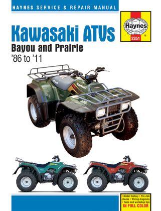kawasaki bayou prairie atv haynes repair manual 1986 2011 haym2351
