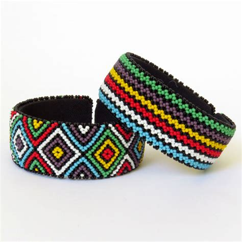 african zulu beaded large bangle multicolour  rural