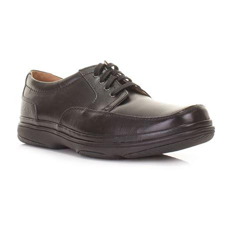 black comfortable work shoes clarks mens black mile wide h fit leather