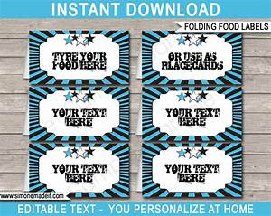 Rockstar birthday food labels place cards rock star theme for Food label template for party