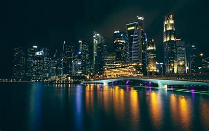Night Buildings Reflections 4k Background Ultra Widescreen
