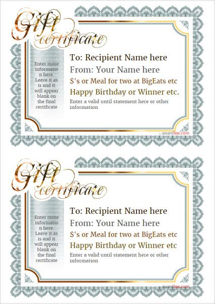 printable gift certificate template designs  home