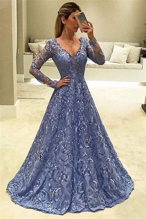 A Line V Neck Long Sleeves Light Sky Blue Lace Prom Dress
