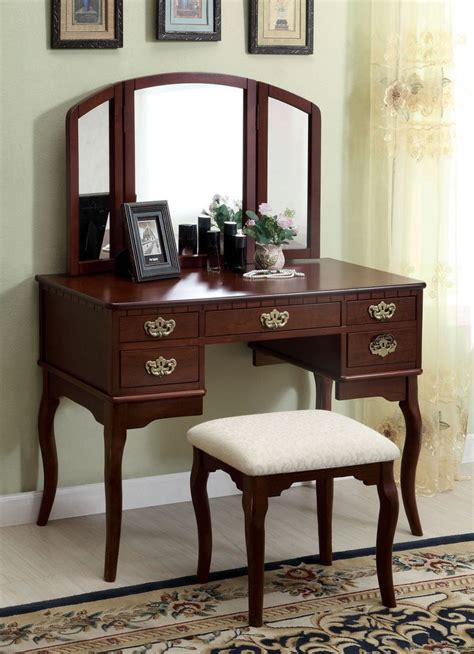 vanity sets for bedrooms furniture of america vanity table in cherry finish ashland 17703 | 47cf775154fc0521f1ca4629e2653a5b bedroom mirrors bedroom vanities