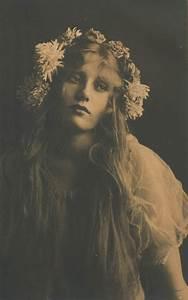vintage, dramatic, flowers, girl, long hair, sepia - image ...