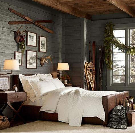 chambre style chalet de montagne déco maison chambre de chalet de montagne aux tons gris