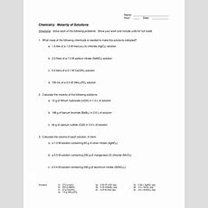 Molarity Of Solutions Worksheet For 10th  Higher Ed  Lesson Planet
