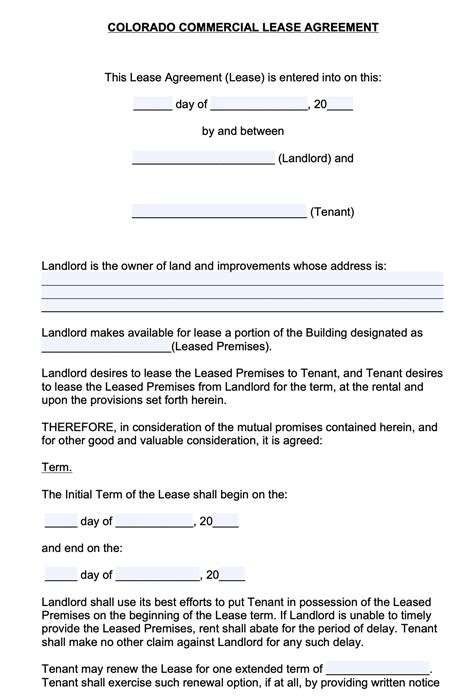 colorado commercial lease agreement template
