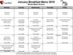 january breakfast lunch menus burke basic school