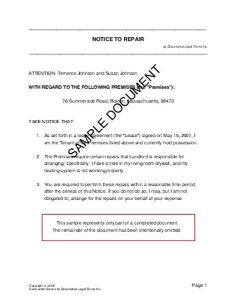 notice  repair usa legal templates agreements