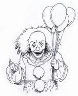 Scary Coloring Pages Creepy Clown sketch template