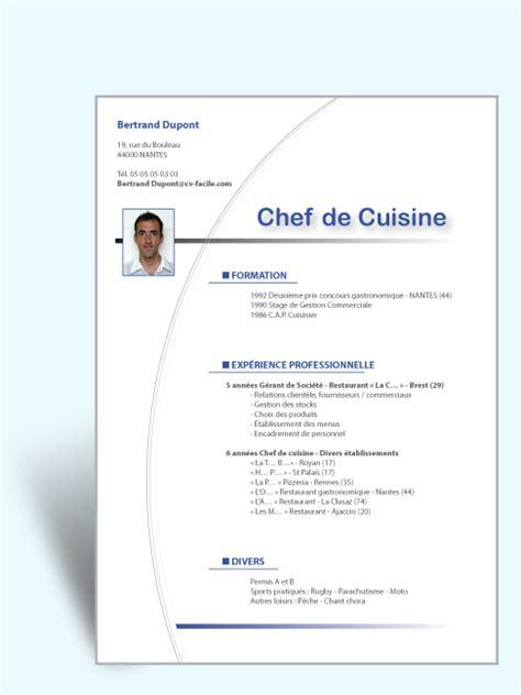 exemple cv cuisine modèle cv original saisonnier