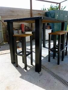 Table Haute Bois Metal : brocantetendance fabrication cr ation meuble industriel bois m tal sur mesure ~ Teatrodelosmanantiales.com Idées de Décoration