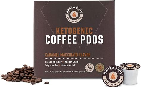 Rapid fire ketogenic coffee is sourced from premium fair trade coffee beans that encourage enhanced cognition, faster metabolism, and a sharper mental. Rapid Fire Caramel Macchiato Ketogenic High Performance Keto Coffee Pods, Supports Energy in ...
