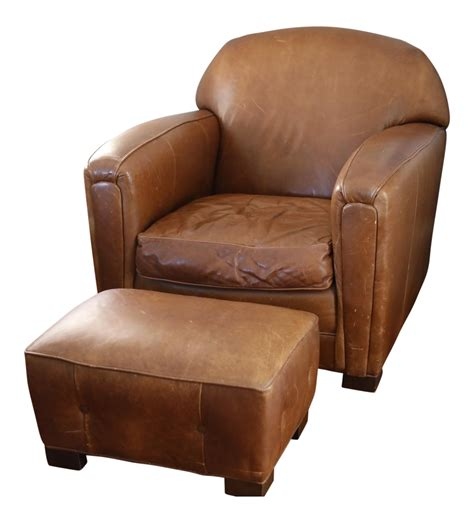 vintage brown leather chair vintage brown leather club chair ottoman chairish 6781