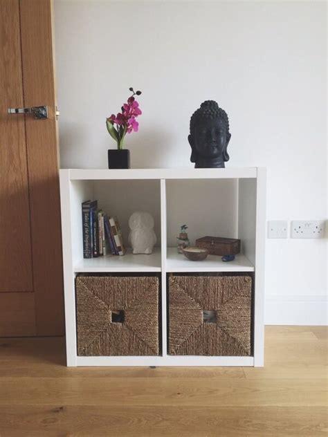 White Bookcase With Baskets by White Ikea Kallax Shelving Unit Bookcase 2 Ikea Knipsa