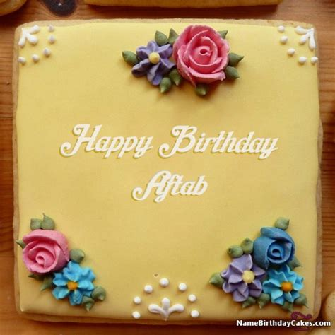happy birthday aftab cakes cards wishes