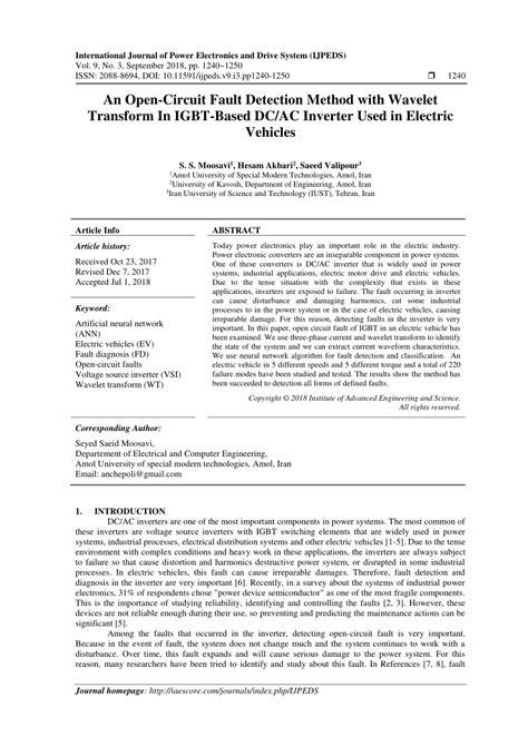 Pdf Open Circuit Fault Detection Method With Wavelet