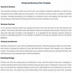 restaurant business plan template 7 free pdf word With how to make a business plan for a restaurant template