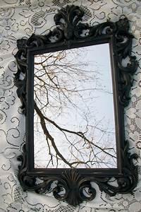 Large Vintage Mirror, Black Mirror, Ornate Mirror, Gothic ...