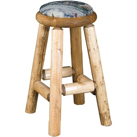 Log Stool - pine log seating upholsteredlog pub stool log038
