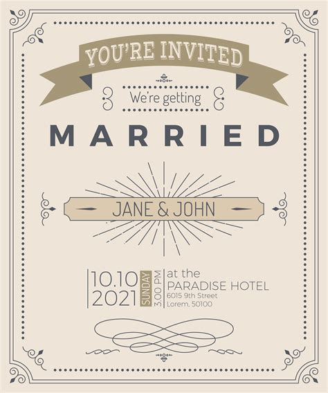 Vintage wedding invitation card Download Free Vectors