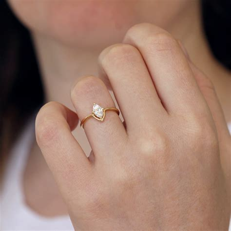 marquise engagement ring minimalist engagement ring