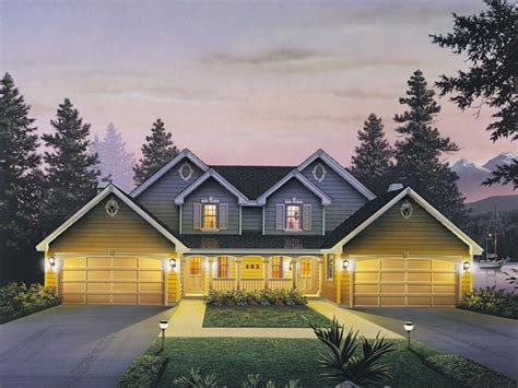 Multi Family House : Countryridge Farmhouse Duplex Plan 007d-0024